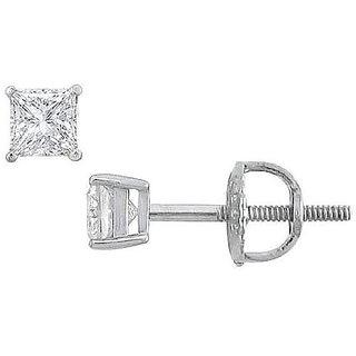 18K White Gold Princess Cut Diamond Stud Earring 0.25 Ct.