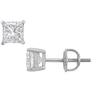 18K White Gold Princess Cut Diamond Stud Earring 1.25 Ct.