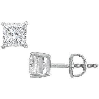 18K White Gold Princess Cut Diamond Stud Earring 1.75 Ct.