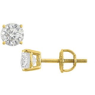 14K Yellow Gold Cubic Zirconia Stud Earring