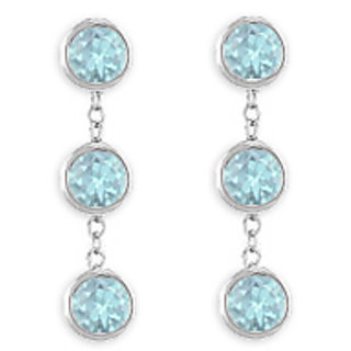 Bezel Set Created Aquamarine Drop Earring In 925 Sterling Silver Six Carat