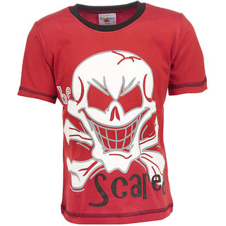 Crackles Red Round Neck Cotton T-shirt for Boys