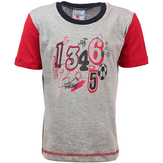 Crackles GreyRed Round Neck Cotton T-shirt for Boys