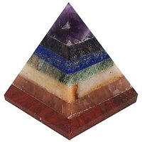 Starstell Colorful 7 Chakra Pyramid For Reiki  Crystal Healing - 4 Cm (H)