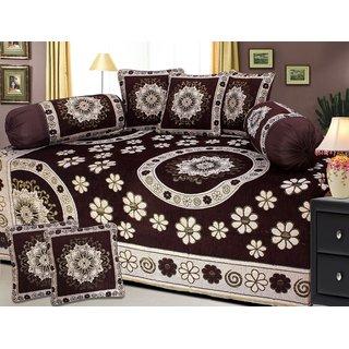 Prachi Home Decor Chenille Diwan Sets (Set of 8 ), Brown