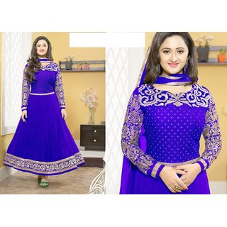 Pure Georgette Royal Blue Anarkali Suit