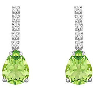14K White Gold & Diamond Peridot 1.25 Ct Earring