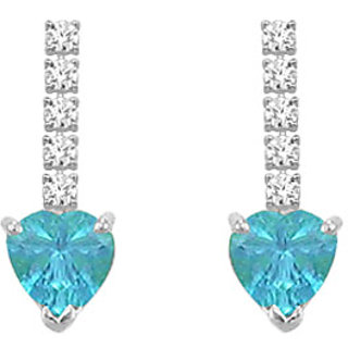 Diamond And Blue Topaz Earring 14K White Gold - 1.25 Ct
