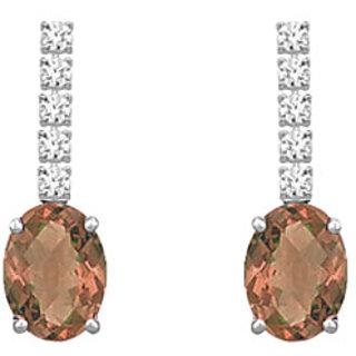 14K White Gold & Diamond Smoky Topaz 1.25 Ct Earring