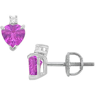 14K White Gold & Diamond Amethyst 2.04 Ct Stud Earring