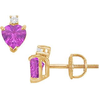 Stylish 14K Yellow Gold & Diamond Amethyst 2.04 Ct Stud Earring
