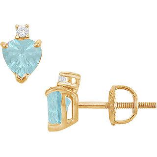 Stunning 14K Yellow Gold & Diamond Aquamarine 2.04 Ct Stud Earring