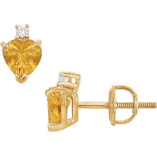 Swank 14K Yellow Gold & Diamond Citrine 2.04 Ct Stud Earring