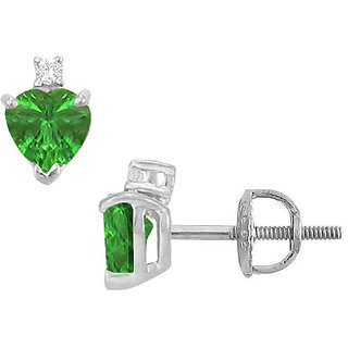 Pretty 14K White Gold & Diamond Emerald 2.04 Ct Stud Earring