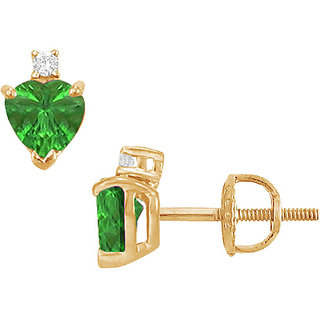 Classic 14K Yellow Gold & Diamond Emerald 2.04 Ct Stud Earring