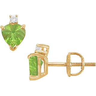 Swank 14K Yellow Gold & Diamond Peridot 2.04 Ct Stud Earring