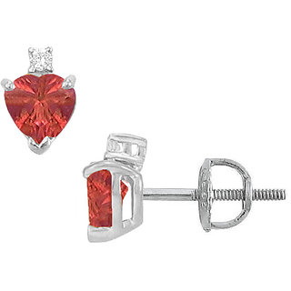 Chic 14K White Gold & Diamond Ruby 2.04 Ct Stud Earring