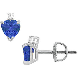 Stylish 14K White Gold & Diamond Sapphire 2.04 Ct Stud Earring
