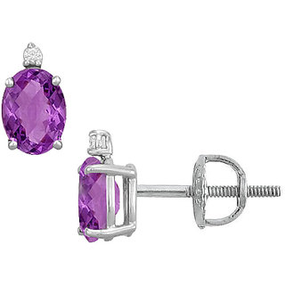Beautiful 14K White Gold & Diamond Amethyst 2.04 Ct Stud Earring