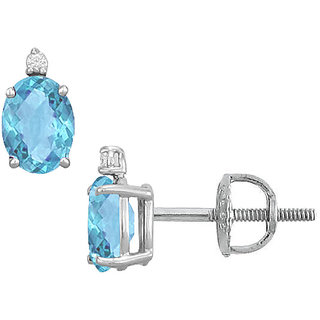14K White Gold & Diamond 2.04 Ct Blue Topaz Stud Earring