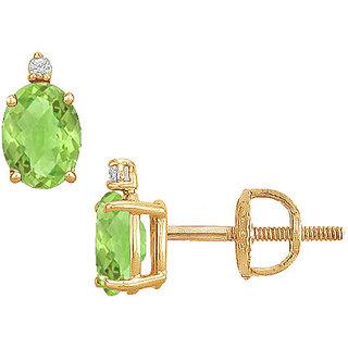 14K Yellow Gold & Diamond Peridot 2.04 Ct Stud Earring