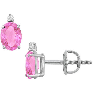 14K White Gold & Diamond Pink Topaz 2.04 Ct Stud Earring
