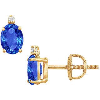 Pretty 14K Yellow Gold & Diamond Sapphire 2.04 Ct Stud Earring