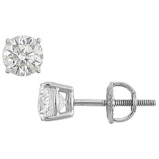 Cubic Zirconia Stud Earring In 14K White Gold 12 Carat
