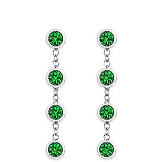 Diamond Emerald Earring With Tiffany Inspired Chain In 14K White Gold 1 Carat