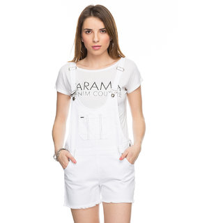 Tarama Solid White Color Dress Dungaree For Womens. TDD858A