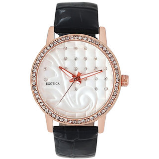 Exotica Fashions EFL702 Black Coloured With Black Leather Strap Quartz Watch For Women