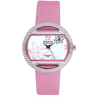 Exotica Fashions EFL24 Pink Coloured With Silver Leather Strap Quartz Watch For Women