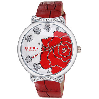 Exotica Fashions EFL28 Red Coloured With Red Leather Strap Quartz Watch For Women