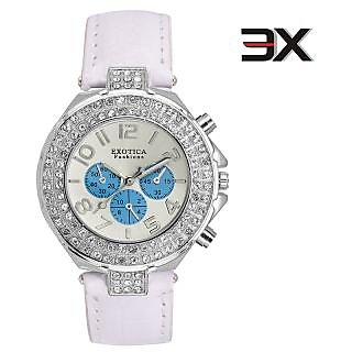 Exotica Fashions EFN07 White Coloured With White Leather Strap Quartz Watch For Women