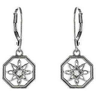 Diamond Lever Back Earring In .925 Sterling Silver 0.04 Carat Diamonds