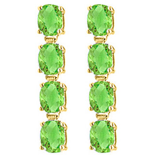 Oval Cut Peridot Drop Earring In Sterling Silver 18K Yellow Gold Vermeil