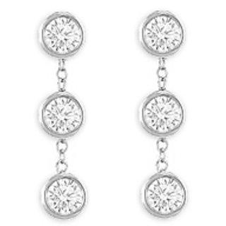 Drop Earring Cubic Zirconia Bezel Set In 925 Sterling Silver Six Carat T