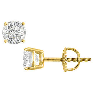 Cubic Zirconia Stud Earring In 14K Yellow Gold 6 Carat Total Cz
