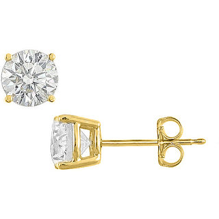 Sterling Silver With 18K Yellow Gold Vermeil 50 Carat Cubic Zirconia Stud Earring