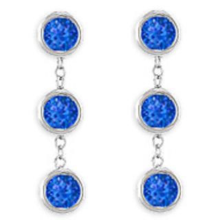 Six Carat Blue Sapphire Drop Earring Bezel Set In 925 Sterling Silver Push Back