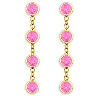Tiffany Style Chains In 14K Yellow Gold With Pink Sapphire Earring