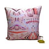 Sequined Digital Print Cushion Cover Pink In