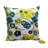 Embroidered Blue Lime Floral Cushion Cover