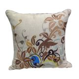 Beige With Brown Leaf Jacquard Cushion Cover