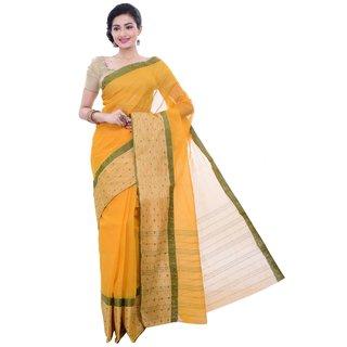 Sangam Kolkata Yellow Cotton Woven Design Saree