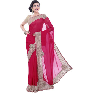 Sangam Kolkata Pink Chiffon Embroidered Saree