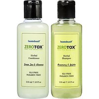 Healthbuddy Zerotox Combo Pack Of Herbal Shampoo Rosemary, Jojoba And Conditioner Green Tea  Aloevera, 210ml (Pack Of 2