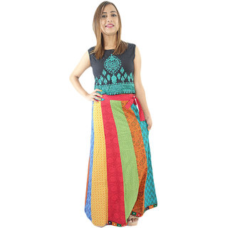 Shopmore Multicolored Sanganeri Printed Full  Wraparound Skirt