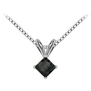 14K White Gold Princess Cut Diamond Solitaire Pendant-1.25 Ct.