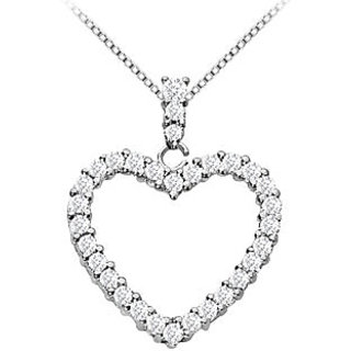 14K White Gold Floating Heart Diamond Pendant Necklace 0.35 Ct Diamonds